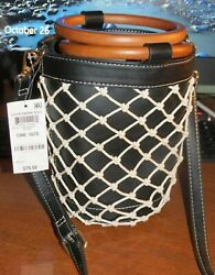 NEW INC International Concepts Fisherman Mini Bucket Bag Black Tan NWT $35.00