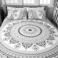 Grey Star Ombre Mandala Duvet Quilt Cover Bohemian Bed Cover Comforter Full King
