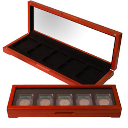 Solid Wood Glass Top Display Box Case For 5 Slab Certified Coins Pcgs Ngc Igc