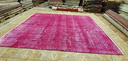 Primitive Antique 1930-1940and039s Overdye Fuchsia Wool Pile Oushak Area Rug 7and039x9and0397
