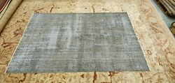 Sweet Vintage 1940-1960and039s Light Gray Distressed Wool Pile Oushak Area Rug 5x9ft