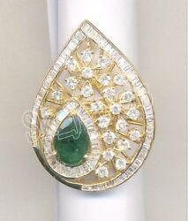 Christmas 1.81ct Round Baguette Diamond Emerald 14k Yellow Gold Cocktail Ring