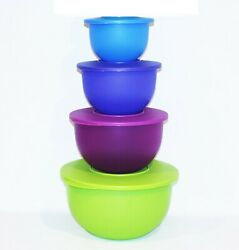 Tupperware Bowls Set Of 4 Impressions Mixing Salad Green, Purple And Blue Tower