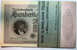 1923 Germany Unc 20 - 100000 Mark In Original Strap Consecutive Numbers Ace 232