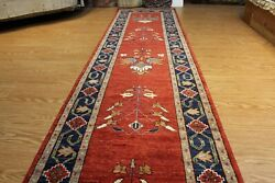 12 FT. Hall-runner Fine Quality handmade hand knotted Tribal Design Rust color