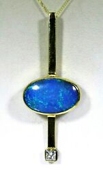 Modern Black Blue Opal And Diamond 18ct Yellow Gold Pendant 18 Chain Necklace