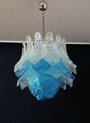 Talian Vintage Murano Glass Chandelier - 38 Glasses - Blue And Trasparent