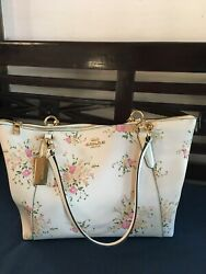 Large Michael Kors White Leather Tote Bag with Floral pink flowers