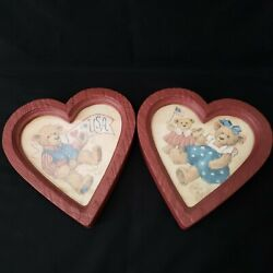 Vintage Home Interior Bear Pictures In Heart Shape Frame By Barbara Mock Homco