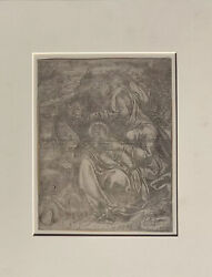 1593 Engraving. Rest On The Flight Into Egypt. Camillo Procaccini After Hans Bol