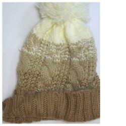 Rampage Womens Pom Pom Cable Knit Winter Beanie Hat Pink Gray Camel Blue NWT