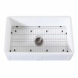 Gourmetier Kgkfa301810ds Farmhouse Single Bowl Kitchen Sink With Strainer And G...