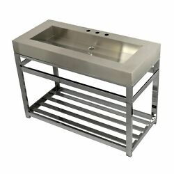 Kingston Brass Kvsp4922a1 Fauceture 49 Stainless Steel Sink With Iron Consol...