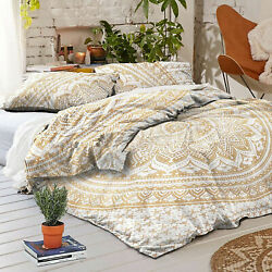 Gold Ombre Mandala King Duvet Quilt Cover Hippie Boho Dorm Bedspread with Pillow
