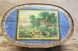 Beautiful Vintage Antique 1890and039s German Hand Painted Wooden Box Large 20