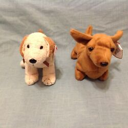 Retired Ty Beanie Baby Lot of 2 Dogs Rufus Terrier Tag Error Weenie Dachund PVC