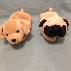 Retired Ty Beanie Baby Lot Dogs Pugsly Pug Fetch Yellow Lab Tag Errors