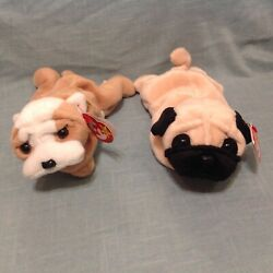 Retired Ty Beanie Baby Lot Of 2 Dogs Wrinkles Bulldog Pugsly Pug Tag Errors