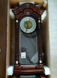 Seiko Wall Pendulum Clock Dark Brown Solid Oak Case with Hand Rubbed Finish