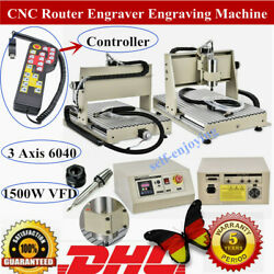 3 Axis 6040 CNC Router Engraver 1500W 3D Engraving Drilling Miilling+Controller