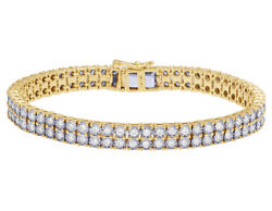 Men's Real Diamond Two Row Tennis Miracle Bracelet In 10k Yellow Gold 4.5ct 7...