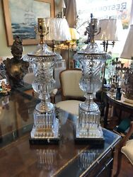 Pair Of Large Handsome Heavy Glass Table Lamps