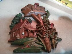 Vtg Sexton Old Farm House Plaque Wall Door Hanger Hanging With Mail Box