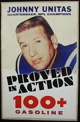 1960's Johnny Unitas Large Gas Station Advertising Sign For 100+ Baltimore Colts