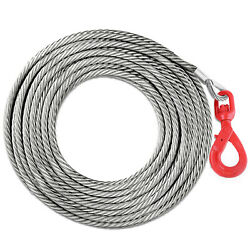 1/2 X 75and039 Winch Cable With Self Locking Swivel Hook Wire Rope Replacement Tow
