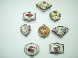 Lot 8 Vintage Marked Porcelain Trinket Boxes Various Shapes And Sizes, Hinged Lids