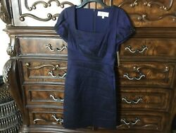 New Badgley Mischka Collection Cocktail Dress 4 Navy Blue Shimmer Puff Sleeve