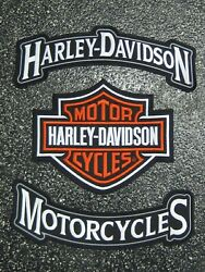 """Harley Davidson Motorcycles 12"""" And Bar And Shield Large Rocker Patches"""