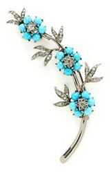 1.24ct Rose Cut Diamond Turquoise Antique Victorian Look 925 Silver Brooch Pin