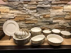 """Vintage Lenox """"special"""" Ivory W/ Silver Trim Dinnerware Set Of 61 Pieces Total"""
