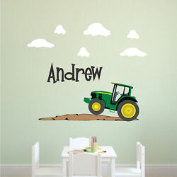 Custom Tractor Name Wall Decal Boys Room Bedroom Personalized Farm Mural, E06
