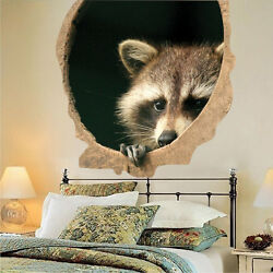 Raccoon Wall Decal Mural Peaking Wild Animals Removable Tree Branch Vinyl a39