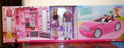 Barbie Dress Up And Go Ultimate Closet Glam Convertible Car Ken Doll Playset New