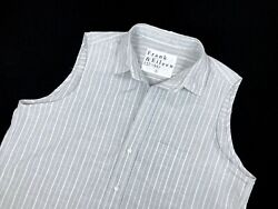 Frank Eileen Womans Grey Striped Open Collar Sleeveless Fiona Blouse Large NEW