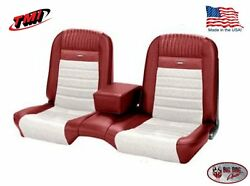 Deluxe Pony Seat Upholstery Ford Mustang Coupe Front/rear Bench - Red And White