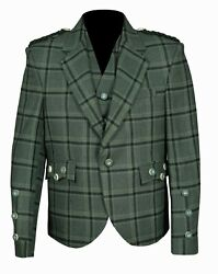 Traditional Style Lovat Green Tweed Argyle Kilt Jacket With 5 Button Vest