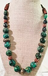 Vintage Antique Chinese Turquoise Shou Coral Beads Necklace Choker