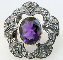 1.30ct Rose Cut Diamond Amethyst Antique Victorian Look 925 Silver Cocktail Ring