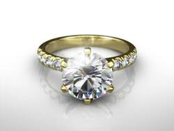 Diamond Engagement Ring 1.75 Ct Round Cut 14k Yellow Gold H Si2 Certified