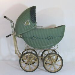 Antique Woven Wicker Hooded Baby Carriage Pram Buggy O. W. Siebert Co. 1920s