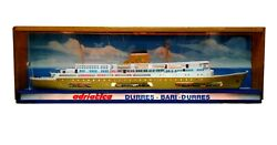Antique Sign Society Adriatica Navigation Venice With Model Ship Appia