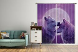 3d Purple Loving Wolves G351 Window Photo Curtain Fabric Quality Vincent Amy