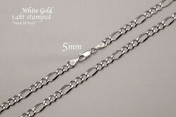 Authentic 14k Solid White Gold 5mm Figaro Link Chain Necklace 18-30