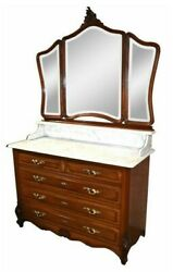 Antique French Carved Walnut Chest/wash Stand W/marble Top