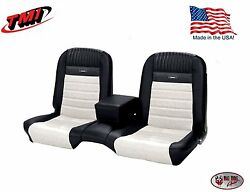 Deluxe Pony Seat Upholstery Ford Mustang Coupe Front/rear Bench - Black And White