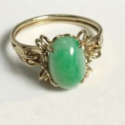 Vintage Solid 14k Gold Moss In Snow Jadeite Jade Ornate Ladyand039s Ring Us Size 7